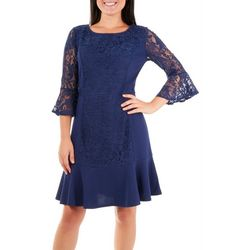 NY Collection Womens Lace Panel Sheath Dress