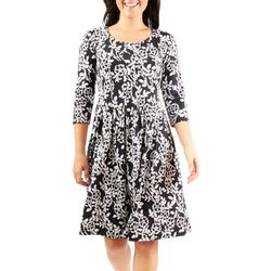 NY Collection Womens Floral Pleated Flared Dress