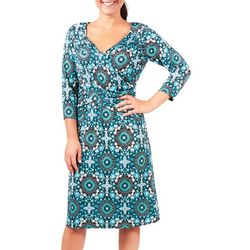 NY Collection Womens Blue Printed Ruched Dress