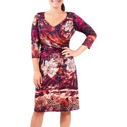 NY Collection Womens Printed Fit & Flare Dress