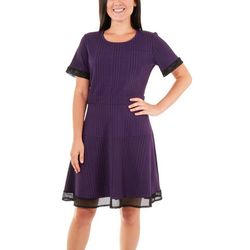 NY Collection Womens Mesh Panel Fit & Flare Dress