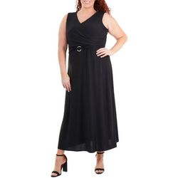 NY Collection Plus Solid Wrap Maxi Dress with Belt