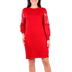 NY Collection Womens Lace Knit Balloon Dress