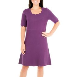 NY Collection Womens Scalloped Sweater Dress