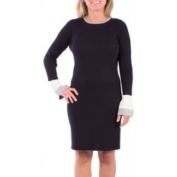 NY Collection Womens Colorblock Bell Sleeve Sweater Dress