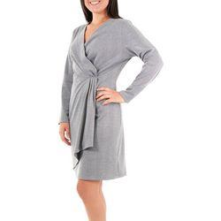 NY Collection Womens Stripe Wrap Sheath Dress