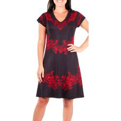 NY Collection Womens Filigree Sweater Dress