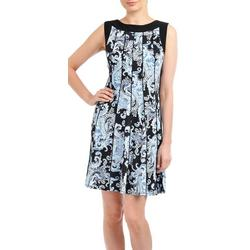Womens Paisley Fit & Flare Dress