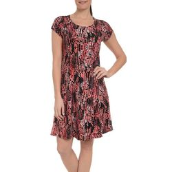 NY Collection Womens Dot Print A-Line Dress