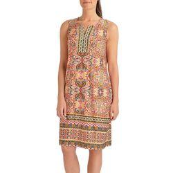 NY Collection Womens Border Print Shift Dress
