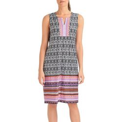 NY Collection Womens Medallion Border Print Shift Dress