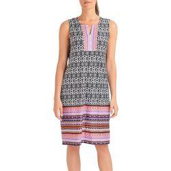 NY Collection Womens Medallion Border Print Shift Dress