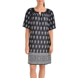 NY Collection Womens Border Print Trapeze Dress