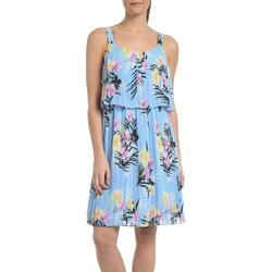 Womens Floral Popover Pleated Dress