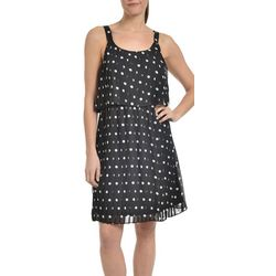 NY Collection Womens Polka Dot Popover Dress