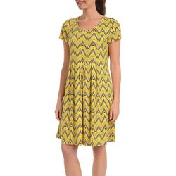 NY Collection Womens Fit & Flare Pleated Dress