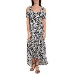NY Collection Womens Floral Cold Shoulder Maxi Dress
