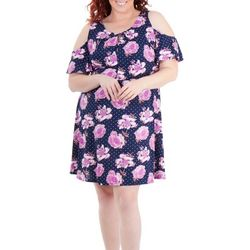 NY Collection Plus Floral Cold Shoulder Pleated Dress