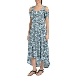 NY Collection Womens Printed Cold Shoulder Maxi Dress