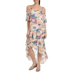 Womens Floral High Low Maxi Dress