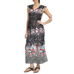 NY Collection Womens Floral Flutter Sleeve Maxi Dress
