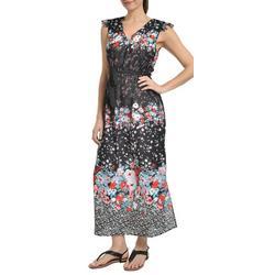 Womens Floral Flutter Sleeve Maxi Dress