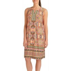 NY Collection Petite Sleeveless Border Shift Dress
