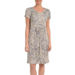 Petite Print Fit and Flare Dress
