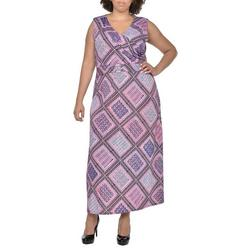 Plus Geometric Sleeveless Maxi Dress