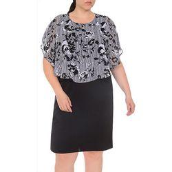 Plus Floral and Stripe Poncho Dress
