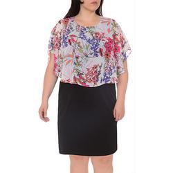 Plus Floral Poncho Shift Dress