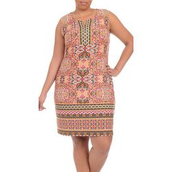 NY Collection Plus Border Print Shift Dress