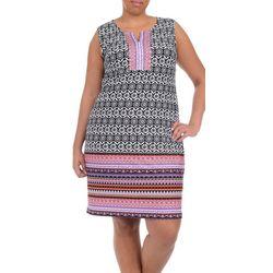 Plus Sleeveless Border Print Dress