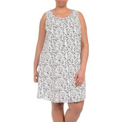 NY Collection Plus Dot Print Necklace Shift Dress