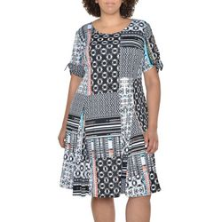NY Collection Plus Tie-Sleeve Print Godet Dress