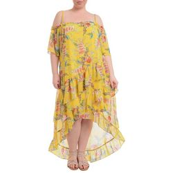 NY Collection Plus Floral High Low Tulip Hem Dress