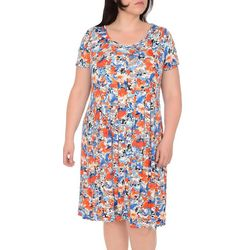 NY Collection Plus Print Pleated Kit & Flare Dress