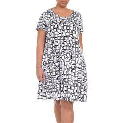 Plus Cube Print Fit & Flare Dress