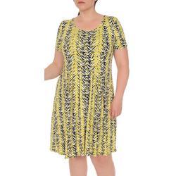 Plus Chevron Fit & Flare Dress