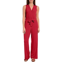 NY Collection Petite Belted Sleeveless Solid Jumpsuit