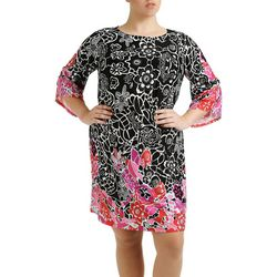 NY Collection Plus Long Angel Sleeve Shift Dress