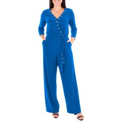 NY Collection Womens Grommet Wide Leg Jumpsuit