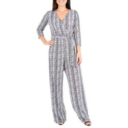 NY Collection Womens Stripe Grommet Jumpsuit