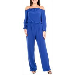 NY Collection Womens Cold Shoulder Chain Jumpsuit