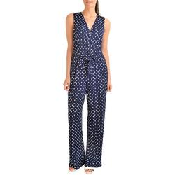 Womens Polka Dot Belted Jumpsuit