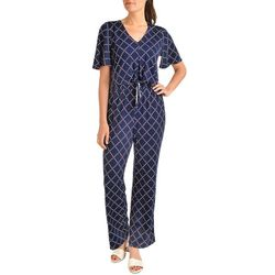 NY Collection Womens Geometric Tie Front Jumpsuit
