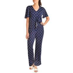 Womens Geometric Tie Front Jumpsuit