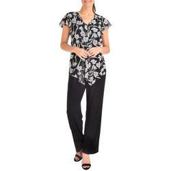 NY Collection Womens Floral Chiffon Jumpsuit