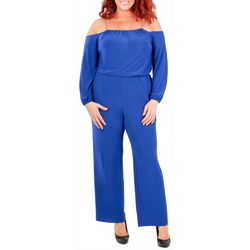 NY Collection Plus Cold Shoulder Chain Jumpsuit
