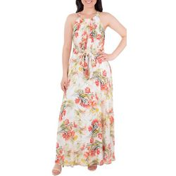 NY Collection Womens Tie Waist Pleated Maxi Dress